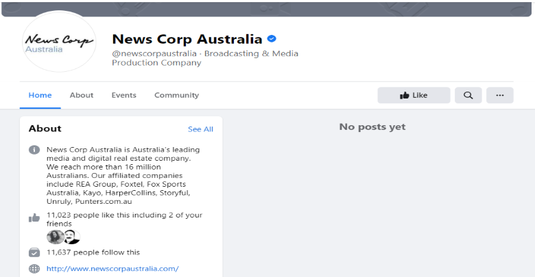 Screen capture of News Corp's Facebook page, showing an empty area where posts should be.