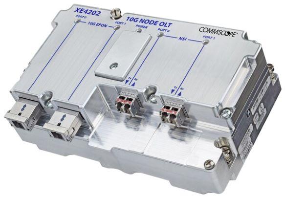 Product shot. CommScope's XE4202 10G-EPON Remote OLT fibre node module.