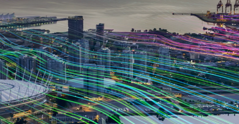 Lines of light overlaid on an image of a city.