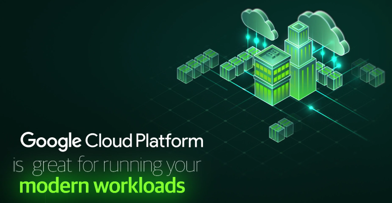 Graphic representing the Google Cloud platform running workloads.