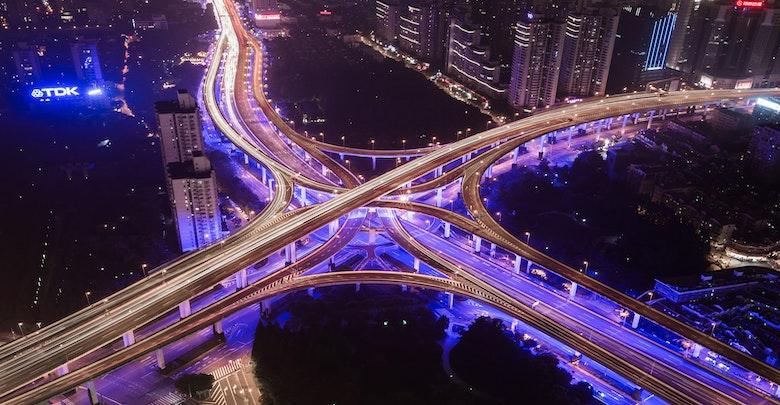 Highways at night.