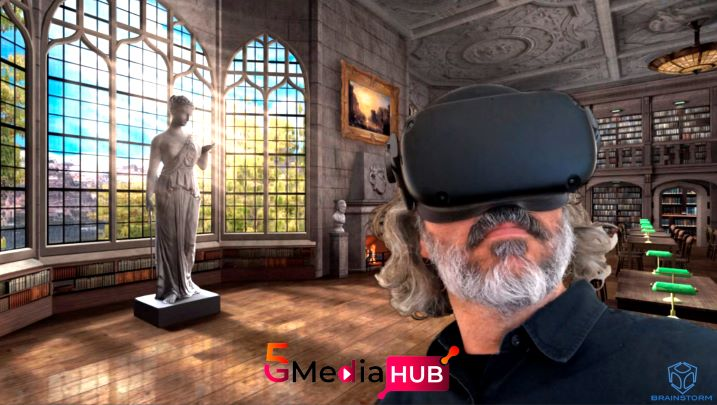 Man wearing a VR headset against a computer-generated backdrop of a building interior.