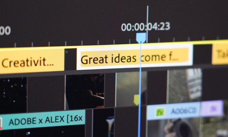 Screen capture of Adobe Premiere Pro showing captions within a video.