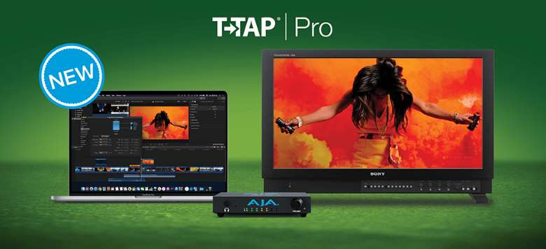 The compact T-Tap Pro is pictured next to a laptop on the left and a larger display on the right. Both the laptop and the display have the same video onscreen.