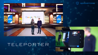 Photo of Teleporting reporters onto TV screen, courtesy of Brainstorm