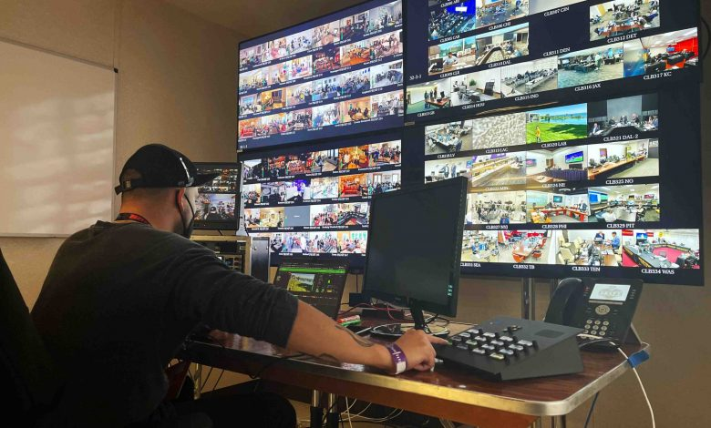 Operator monitoring all live video feeds for the broadcast of 2021 NFL Draft