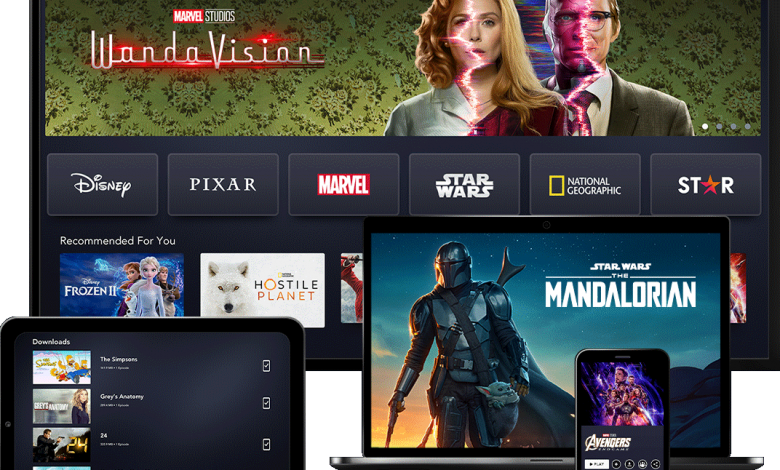 Image shows Disney+ content on a number of devices