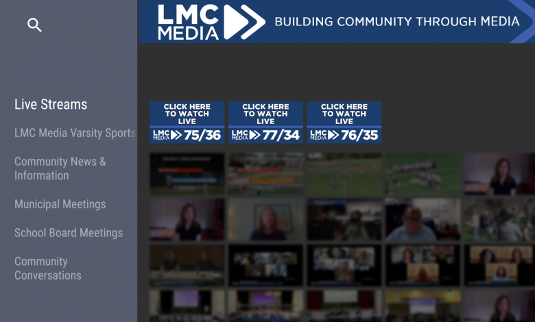 A screenshot of LMC Media, a TV station in Mamaroneck, New York, available on Amazon Fire TV.