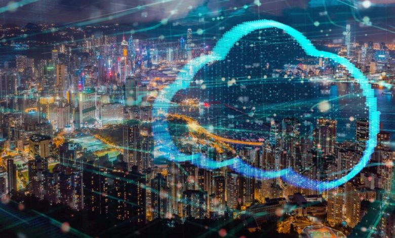 Cloud technology connecting city