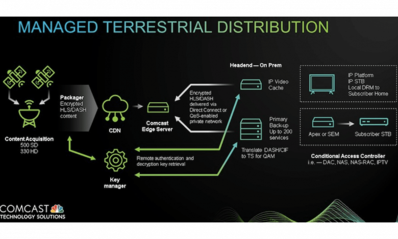 Black and green graphic of the terrestrial delivery process