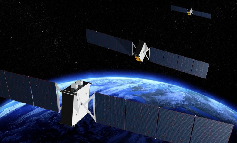 Image of satellite over earth